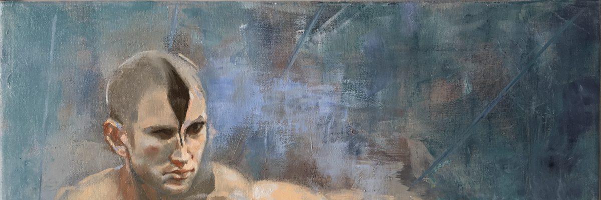 Tinacollins-Swan-Lake-male-figure-Oil-on-linen-Portentum-2018-17x21 in-£